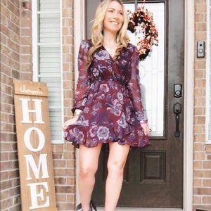 Floral Wine Faux wrap Dress